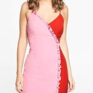 Bardot pink & red cute midi dress